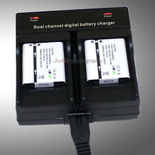Dual Charger +2x Battery for Li-50B Li50B Olympus TG-610 TG-620 TG-810 XZ10 SH21
