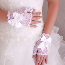 Gants Mitaines Courts Dentelle Mariage Noeud Satin Blanc Mariage Opéra
