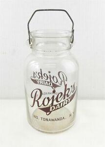 Vtg Owens-Illinois Rojek's Dairy 1 Gallon Glass Bottle Tonawanda NY Bale  T192