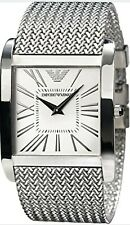 Emporio  Armani  AR2014  Men's White Dial Silver Mesh Band Quartz Watch RRP £399