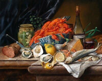 Oil painting Josef Schuster - Large Decorative Still Life fish fruits bowl etc