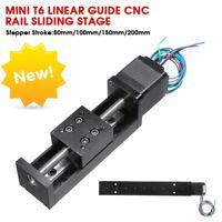 24V Mini T6 Linear Guide CNC Rail Sliding Stage Actuator Motor Stroke 50-200mm