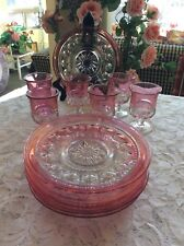 Lot Of 12 Tiffin King's Crown Thumbprint Cranberry Cordial Wine Glasses + Plates