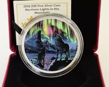 2016 CANADA $30 NORTHERN LIGHTS IN THE MOONLIGHT 2 OZ COIN 99.99% FINE SILVER