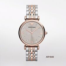 New Emporio Armani AR1840 Ladies Gianni T-Bar Steel and Rose Gold Watch