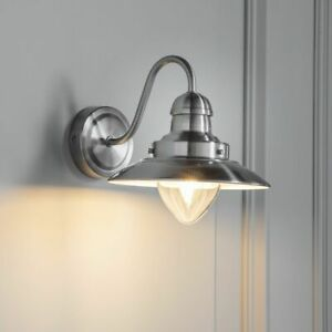 ENDON Mendip 40W E14 Indoor Wall Light Dimmable Satin Nickel & Clear Glass 60800
