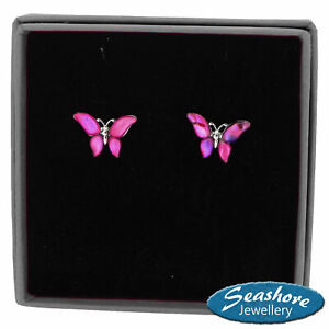 Butterfly Earrings Pink Paua Abalone Shell Silver Fashion Jewellery Gift Boxed