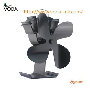 VODA 4-Blade Heat Powered Wood Fireplace Stove Fan  for Gas / Pellet(Upgrade)