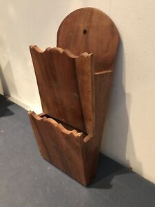 wood letter rack wall hanging wood with brass inlays