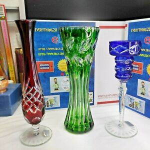 Lot of 3 Bohemian Lead Crystal Cut-to-Clear Vase, 2 Vase ,1 Candle Holder.