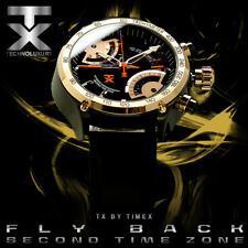 TX Men's T3C178 650 Flyback Chrono Dual Time Black Dial Rose-Tone Black Leather