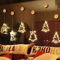 LED Light Window Xmas Tree Elk String Lights Hanging Party Window Lnterior Decor