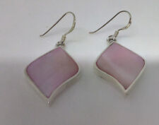 Sterling Silver  Pale Pink Mother Of Pearl Leaf Shaped Drop Dangle Earring