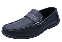 MENS BLACK SLIP-ON DRIVING SHOES LOAFERS MOCCASINS SMART WORK SHOES SIZES 7-11