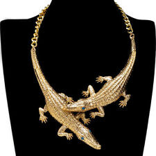 Fashion Gold Crocodile Chain Rhinestone Choker Statement Pendant Bib Necklace