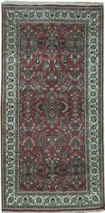Traditional Affordable Hand-Knotted Carpet 3x7 ft Wool Red Rug