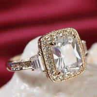 18K Rose Gold Plated Made With Swarovski Crystal Luxury Classic Square Cut Ring