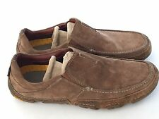 Hush Puppies Mens Slip On Tan Leather Loafers Vibram Sole Shoes Size 9 M