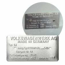 Volkswagen Karmann Ghia Type 14 Made in Germany Vin Data Information Plate