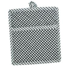 Set of 2 Black and White Check Quilted Cotton Pocket Pot Holders