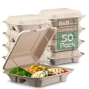 """100% Compostable Clamshell Take Out Food Containers [8X8"""" 3-Compartment 50-Pack]"""