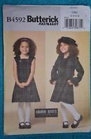 #B4592 Butterick EASY Sewing PATTERN Girls Dress-Jacket-Hat Size 2-3-4-5yrs NEW