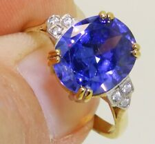 ART DECO STYLE 9CT GOLD ON SOLID SILVER TANZANITE SINGLE STONE RING O