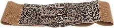 Triple Buckle LEO Leoparden FAKE FUR Retro STRETCH Taillengürtel - Belt Rockabi