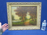 "ANTIQUE FALL LANDSCAPE OIL PAINTING - 20"" X 25"""
