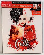 Disney Cruella (Art Edition, 4K Ultra Hd, Blu-ray, Digital) Target Exclusive New