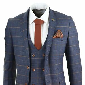 Mens 3 Piece Navy Blue Tan Check Double Breasted Waistcoat Formal Suit Classic