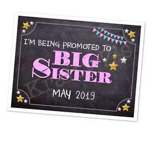 Pregnancy Announcement Print. Big Sister Big Brother New Baby A4 Photo Prop