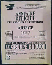 DEPARTEMENT DE L ARIEGE ANNUAIRE OFFICIEL DES ABONNES AU TELEPHONE de 1967