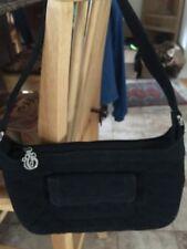 Vera Bradley Black Quilted Microfiber Purse Handbag zip top silver hardware PKT