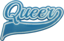 3963 Blue White Queer Baseball Style Logo Gay Pride Enamel Pin Badge Button
