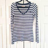 Hollister Blue & White Stripe V Neck Long Sleeve T