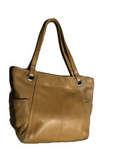FOSSIL Tan Cow Hide Leather Shopper Tote Shoulder Bag Handbag Carryall Purse EUC