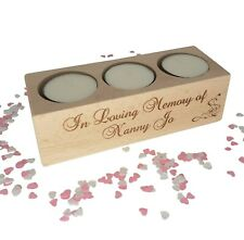 Personalised remembrance candle / tealight holder & candles. In loving memory.