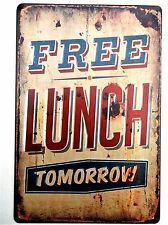 FREE LUNCH METAL TIN SIGNS vintage cafe pub garage decor retro kitchen