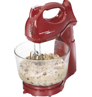 Hamilton Beach 275W Stand and Hand Mixer with Attachments Red Compact Countertop