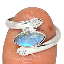 Rainbow Moonstone, India 925 Sterling Silver Ring Jewelry s.6 BR83186 280K
