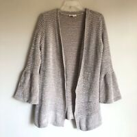 LC Lauren Conrad Sz XS Beige Chenille Cardigan Sweater with Bell Sleeves