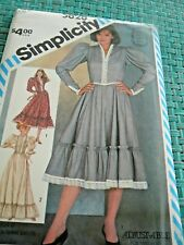 SIMPLICITY #5828-miss FITTED WESTERN STYLE DRESS PATTERN  2 LENGS RUFFLES sz 8