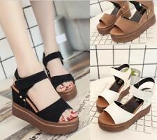 Fashion Womens Wedge White Sandals Platform Open Toe Korean Shoes New A3978