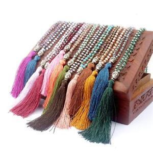 Ladies Boho Beaded Tassel Necklace Pendant Long Sweater Chain Jewelry Vintage