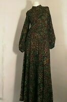FRANK USHER London Pure VINTAGE70 Full Length Dress Puff Sleeve Floral Tricot 14