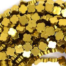 "6mm hematite carved flower beads 15.5"" strand gold color"