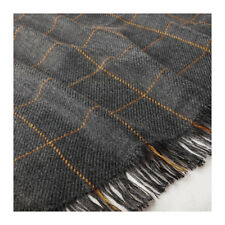 IKEA Throw Rug Blanket Check GREY Check Stripe Soft Sofa Bed Knee Winter Cover