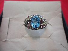 Electric Blue Topaz Solitaire Ring w/Pave Set Multi-Gemstone Accents, 925 Silver