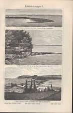 Lithografie 1906: Küstenbildungen I/II. Landzunge Steil- und Flach-Küste Kap Ter